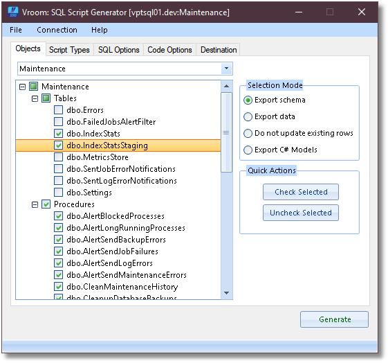 Vroom SQL Script Generator